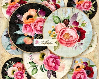 Boho Flowers - 2.5 inch circles - set of 12 - digital collage sheet - pocket mirrors, tags, scrapbooking, cupcake toppers