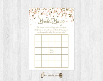 Blush Pink and Gold Bridal Shower Bingo Printable Chic Bling Wedding Shower Games Game Instant Download Elegant Bachelorette Polka Dots