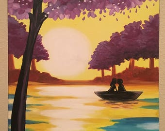 Abstract Acrylic Canvas Painting - A couple in love in a boat