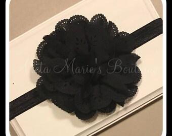 Black Newborn/Toddler Flower Headband~Baby Bows~Baby Headbands~Baby Shower Gift~Eyelet Flower Headband~Ready to Ship