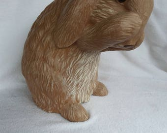 Vintage Ceramic Bunny Rabbit Figurine Large for Home or Garden, Sittre Mold 1989, Easter Decor