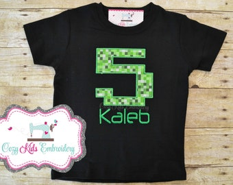Gamer birthday shirt, gamer shirt, pixel shirt, creep shirt, video game birthday party, embroidery applique