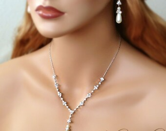 Teardrop Pearl Bridal CZ Necklace and Earring Set - Cubic Zirconia and Swarovski Pearls - MARISSA