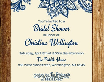 Bridal Shower Invitation  - Cream  and  Navy - Lace - 5x7 - DIGITAL -