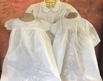 Three Vintage White Baby Dresses 1940s