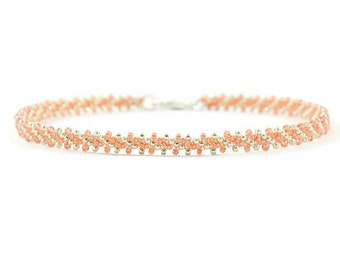 Peach Chain Bracelet - Beaded Layering Bracelet - Orange Seed Bead Jewelry - Daisy Chain Bracelet - Minimalist Jewelry