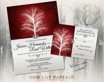 Winter Wonderland Wedding Invitation, RSVP, Insert Card  and Programs Stationery Suite, Digital Printable , Elegant  Winter Wedding DIY