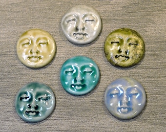 Set of Six Medium Round Ceramic Face Stone Cabochons, One of Each Color