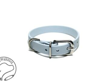 "Pastel Baby Blue Little Dog Collar - 1/2"" (12mm) Thin Biothane Dog Collars - Waterproof Small Dog Collar"