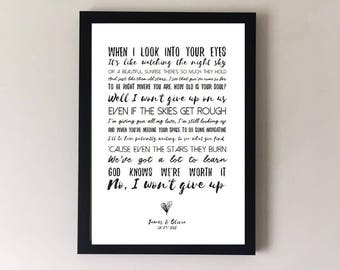 I won't give up, song lyrics print, wedding song, first dance, anniversary gif,t wedding gift, gift for husband, gift for wife