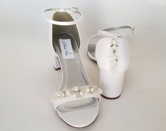 Ivory Wedding Shoes White Wedding Shoes Chunky Heels Ivory Bridal Shoes Lace Bridal Shoes with Crystals and Pearls - PICK FROM 100 COLORS