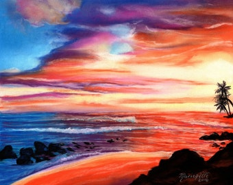 sunset art prints, 8 x 10 giclee,  kauai art,  salt pond beach, hawaiian sunrise, hawaii paintings, kauai art galleries, maui, oahu