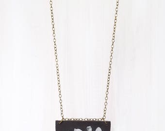 LEATHER + CRYSTAL SHIELD || quartz shards on reclaimed leather pendant necklace