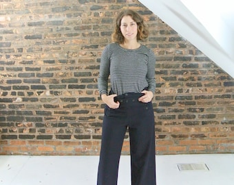 50's vintage || authentic naval wool wide leg pants || 0456