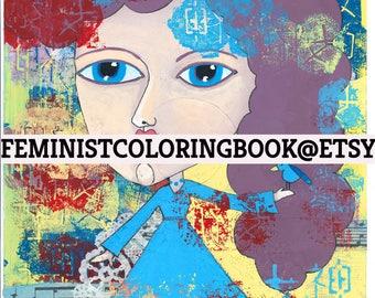 Megame - FUN feminist goddess watercolor painting print with whimsical girl equality womens art feminist art whimsy girl