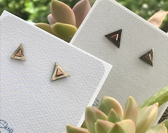 Silver Triangle Earrings; upcycled silver and copper