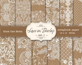 Burlap and Lace Digital Paper: Burlap Wedding Invitation Paper, Lace Paper, Lace Background, Burlap Wedding Decorations - instant download