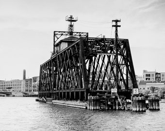 Milwaukee Photography - Milwaukee River Railroad Bridge, Historic Bridges, Milwaukee, Wisconsin, Fine Art Photo, Wall Decor,  8x10 photo