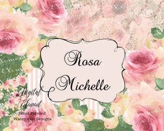 Flower Clip-art Watercolor Blush Rose Floral Bouquet Yellow Flowers and Berries. No. WC118