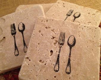 Tile Coasters, Travertine Tile Coasters, Travertine Coasters, Drink Coasters, Fork and Spoon Coasters, Wedding Gift, Birthday Gift, Rustic