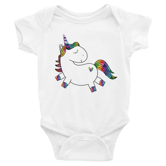 Unicorn Baby Bodysuit - Infant Apparel - Colorful Unicorn - Cute Unicorn One-piece, Baby Shower Gift, Baby Girl Gift, Unicorn Baby Clothes