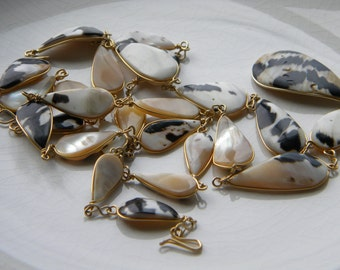 Shell necklace with gold plated or filled wire - vintage jewelry