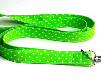 Spring Green Polka Dot Fabric Lanyard with Optional Breakaway Women's Lanyard, Single or Double Breakaway Detachable Lanyard or Key Wristlet