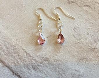 Pink Rhinestone Earrings, Silver Earrings, Bridal Tear Drop Earrings, Pink Tear Drop Earrings, Silver Drop Earrings, Wedding Jewellery, Ladi