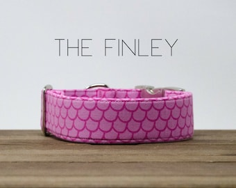 """Modern Girly Scalloped Hot Pink & Light Pink Inspired Dog Collar  """"The Finley"""""""