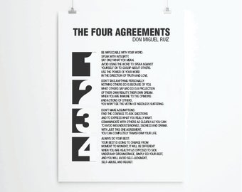 Inspirational quotes, quote prints, quote posters, typography poster, positive quotes,the four agreements, don Miguel Ruiz, Toltec Wisdom