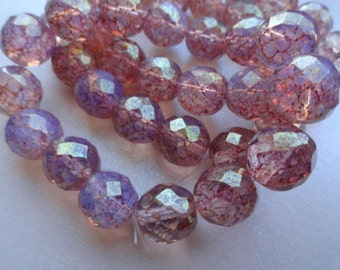 12mm Fire Polished - Premium Czech Beads - 12mm Milky Pink Picasso - Faceted Rounds