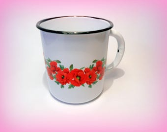 Russian vintage enameled white cup Decorated mug Rare camping mug Large metal cup Retro Russian table ware made in 1990-s