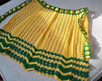 Vintage Kitchen Women's Apron Crochet Apron Green Yellow Gold