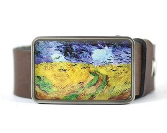Art belt buckle, Van Gogh Belt Buckle, Wheat Field Belt Buckle, Fine Art, women's belt buckle, gift for her