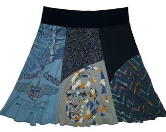 Plus Size Skirt 1X 2X Upcycled Skirt Hippie Skirt Repurposed Skirt Size 18 20 22 Athleisure SkirtT-Shirt Skirt Twinkle