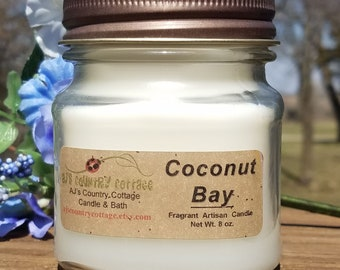 COCONUT BAY type CANDLE - Coconut Candles, Tropical Candles, Scented Candles, Mason Jar Candles, Summer Candles, Fruit Candles, Rustic Decor