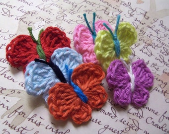 Set of 12 Assorted Crochet Butterfly Appliques. Handmade Crochet Butterfly Appliques.