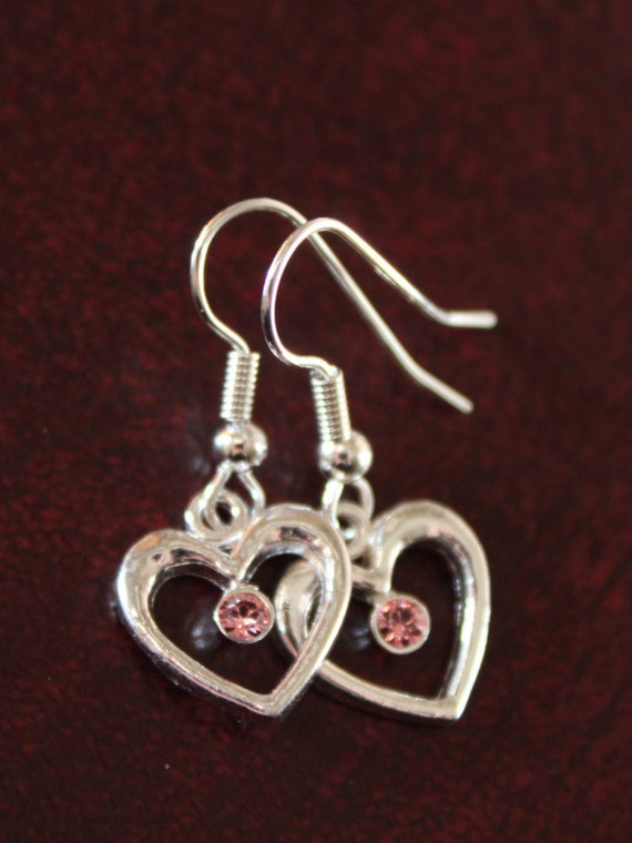 Heart Earrings Jewelry, Dangle Heart Earrings, Silver Hearts, Gift Idea