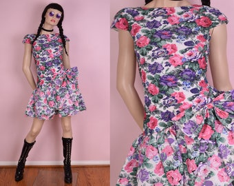 80s Floral Print Dress/ US 3-4/ 1980s/ Party/ Prom