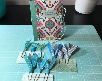 Blue Green Planner Clip Folder with Ribbon Paper Clip Bookmarks