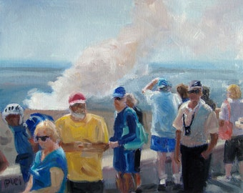 """Hawaii Volcanoes National Park, Budget Travel, original oil painting by puci, 8x10"""""""