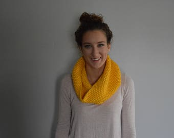 Knit Cowl - Infinity Scarf - Yellow