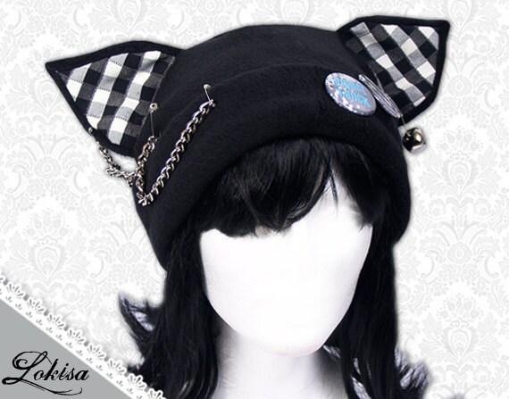 Cat Kitty Fleece Hat Anime Cosplay Punk JRock Checkered