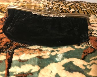 Vintage Black Velvet Clutch with Rhinestones.