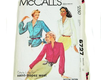 Uncut Sewing Pattern McCall's 6727 Blouses 1979