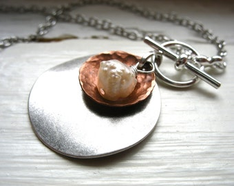 Pearl Metalwork Necklace, White Pearl Dome Oxidized Hammered Copper Silver Disk Chain Necklace, Handmade Jewelry