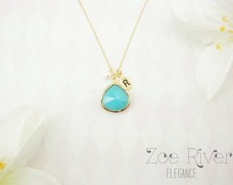 Personalized turquoise green and silver or gold necklace.  Inspirational necklace. Turquoise initial necklace