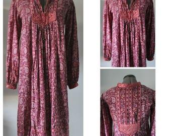 Vintage 1970s Indian Gauze Dress Women,1970s Indian Dress, 1970s Indian Cotton Dress, Bohemian, Gauze, indian, 1970s Dress, Small, Medium,