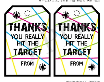 Laser Tag Party, Instant Download Tags, Laser Tag Printable, Digital File, Printable File, Birthday Thank You Favor Tags, Party Favor Tags