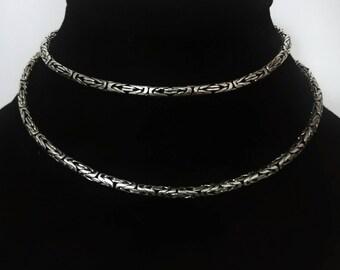 2,5mm 925 Silver Borobudur Byzantine  Chain Necklace